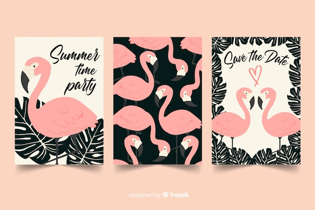 Flamingo card collection flat design