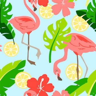 Flamingo in cartoon style. seamless pattern. hand drawn illustration. elements for greeting card, poster, banners. t-shirt, notebook and sticker design