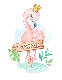 Flamingo in the crown and wood sign illustration