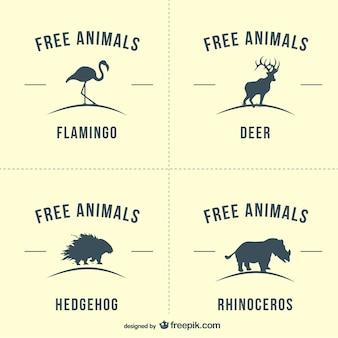 Flamingo, deer, hedgehog and rhino silhouette