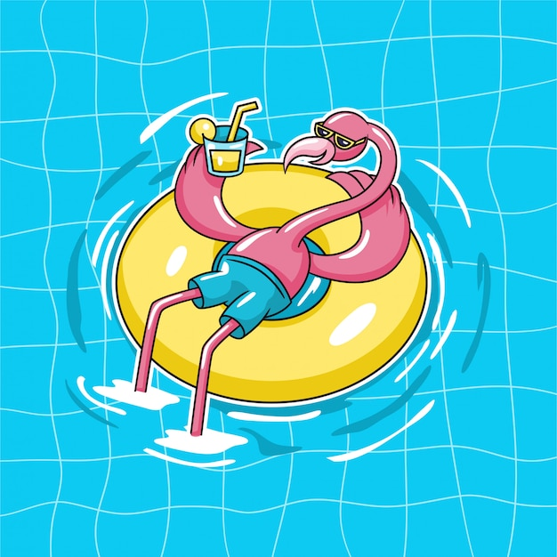 Flamingo exotic bird sitting on doughnut pool float wear sun glasses and drink orange juice on water swimming pool character vector illustration
