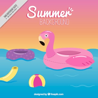 Flamingo float with elements summer background