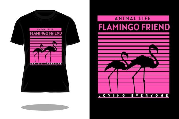 フラミンゴフレンズレトロtシャツデザイン