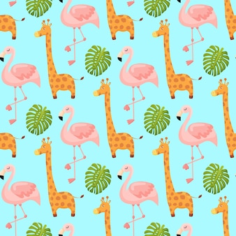Flamingo and giraffe cute seamless pattern animal summer wallpaper background