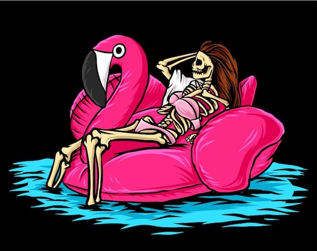 Скелет девушки фламинго, изолированные на черном