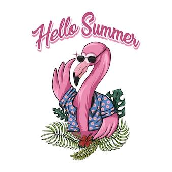 Flamingo hello summer vector illustration