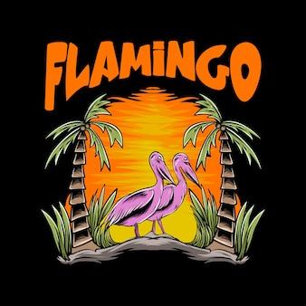 Tシャツのデザインとプリントのための日没とフラミンゴのイラスト