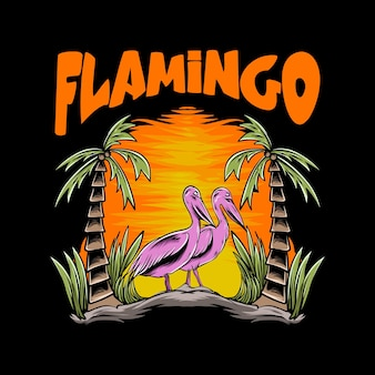 Flamingo illustration with sunset for tshirt design and print