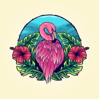 Фламинго в тропическом цветке иллюстрации