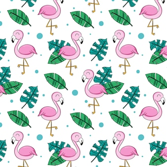 Flamingo and leaves pattern