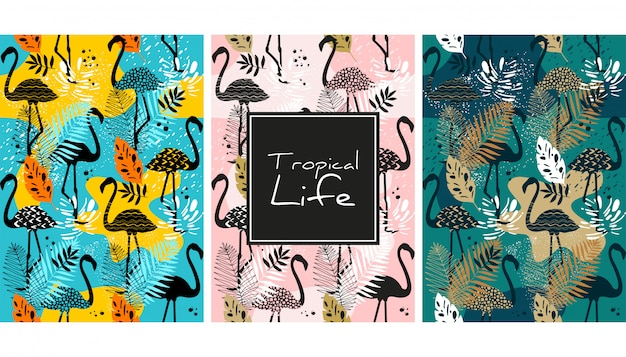 Flamingo and leaves seamless pattern