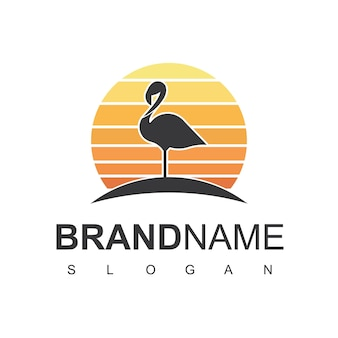 Шаблон дизайна логотипа фламинго