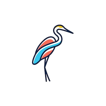 Flamingo logo line art outline monoline vector illustration