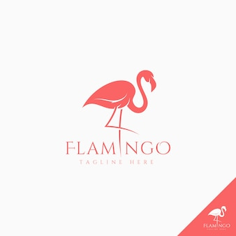 Flamingo logo with simple silhouette style art concept idea