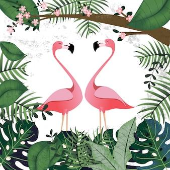 핑크 열 대 정글에서 플라밍고 연인