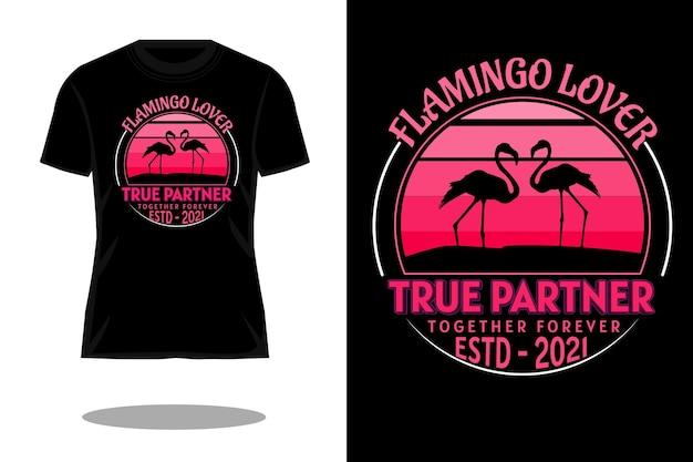 フラミンゴ愛好家のシルエットレトロなtシャツのデザイン