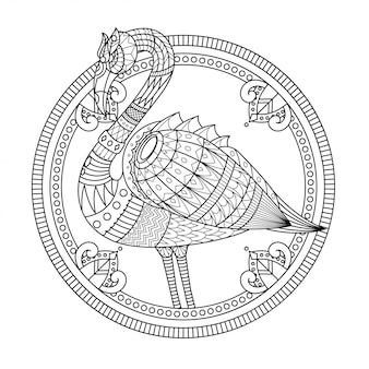直線的なスタイルのフラミンゴマンダラzentangleイラスト