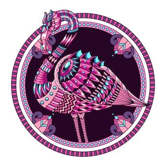 Фламинго мандала в технике дзентангл иллюстрация