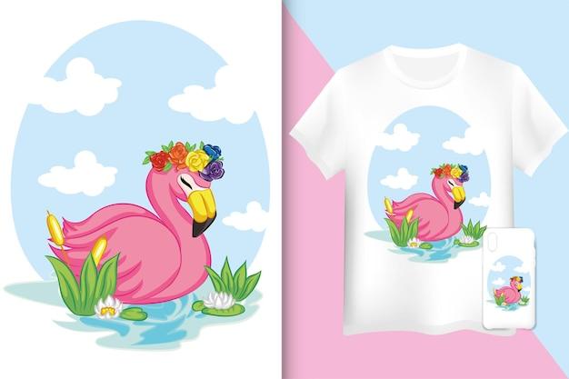 플라밍고 모형 티셔츠와 케이스. 물 그림에서 수영하는 플라밍고.