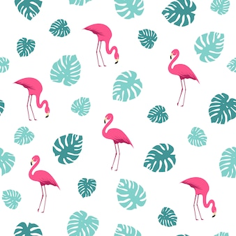 Flamingo and monstera leaves summer pattern
