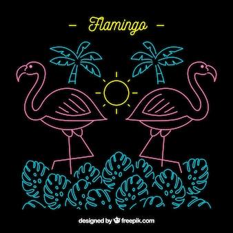 Lampada al neon flamingo con elementi da spiaggia