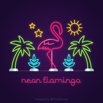 Flamingo neon with beach elements and pink light