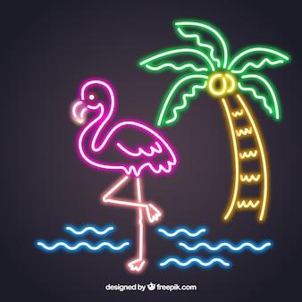 Flamingo neon with beach elements