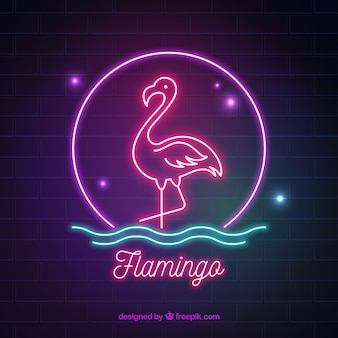 Flamingo neon with colors light