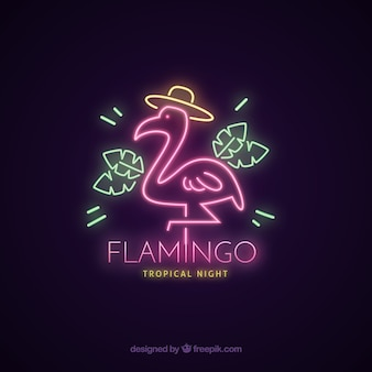 Flamingo neon with pink light