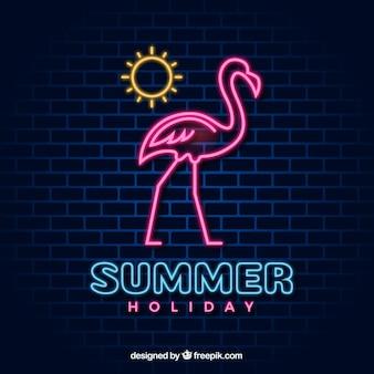 Flamingo neon with sun
