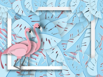 Flamingo on tropical leaves background