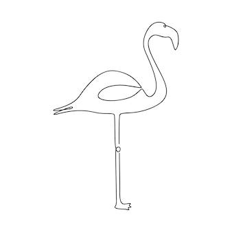 플라밍고 한 선 그리기 연속 선 열대 조류 로고 엠블럼에 대한 handdrawn 그림