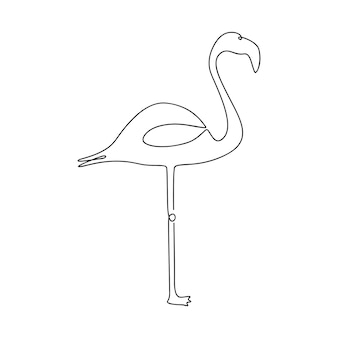 Flamingo one line drawing continuous line tropical bird handdrawn illustration for logo emblem