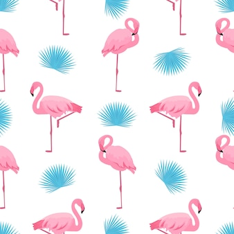 Flamingo and palm leaf. summer tropical seamless pattern. used for design surfaces, fabrics, textiles, packaging paper, wallpaper.