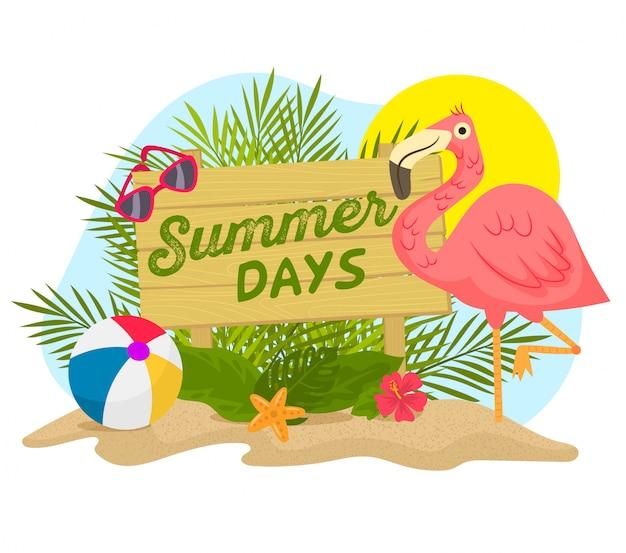 Flamingo, palm leaves and sand