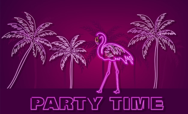 Flamingo and palm trees neon tropic banner