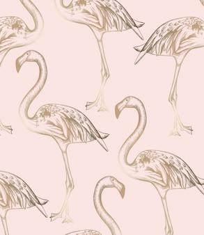 Flamingo pattern. vintage retro texture line art decors