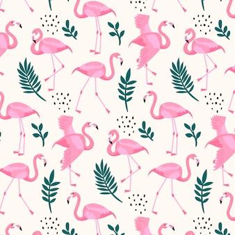 Фламинго узор с разными листьями
