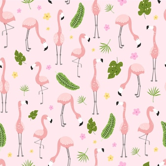 Flamingo pattern with different tropical leaves