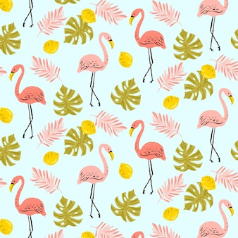 Flamingo pattern with tropical leaves