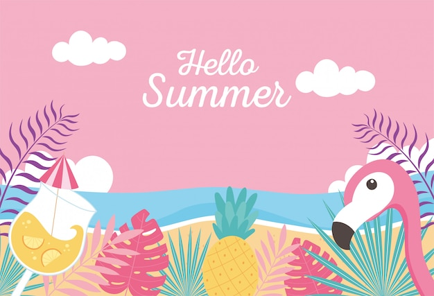 Flamingo pineapple cocktail beach sea exotic tropical leaves, hello summer lettering  illustration