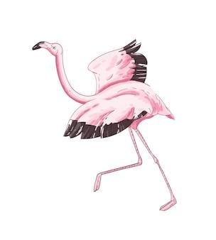 플라밍고는 손으로 그린 벡터 삽화를 비행할 준비를 하고 있습니다. 확산 날개를 실행 하는 아름 다운 이국적인 조류 핑크 깃털 화이트 절연 우아한 동물입니다. 열대 동물군, 아프리카 야생 동물.