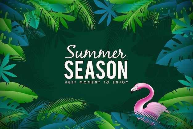 Flamingo realistic summer background