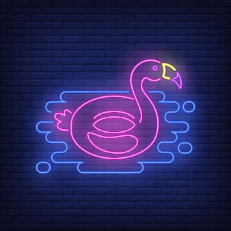 Flamingo rubber ring neon sign.
