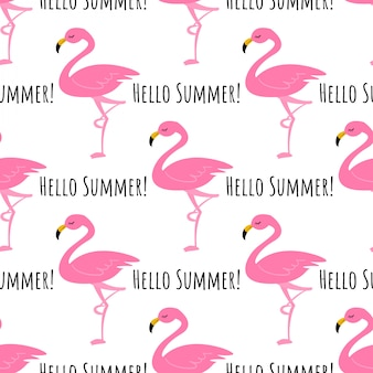 Flamingo seamless pattern background.