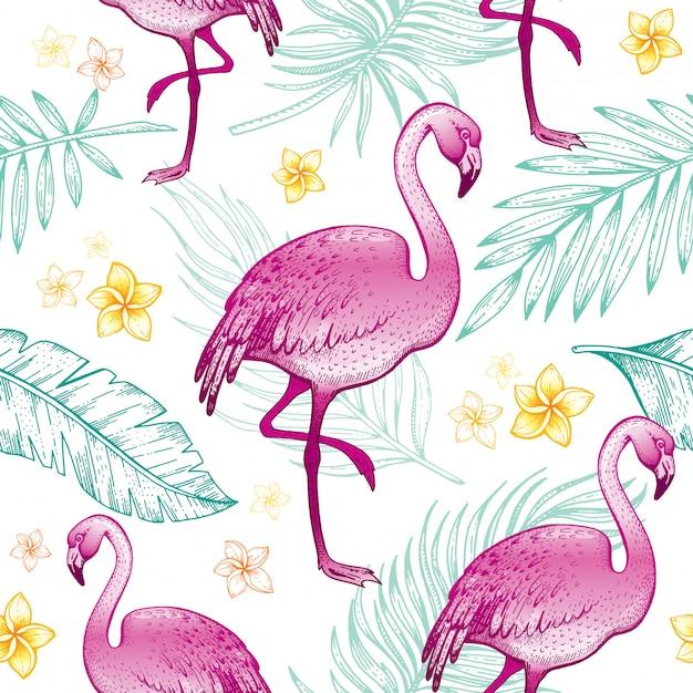 플라밍고 완벽 한 패턴, 여자 섬유 인쇄, 손으로 그린 낙서 텍스처. 의류 용 섬유 인쇄.
