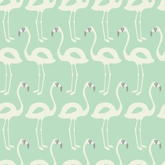 Flamingo seamless pattern on mint background