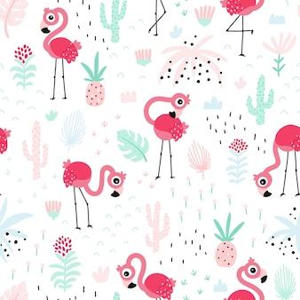 정글에서 귀여운 핑크 조류와 플라밍고 원활한 패턴 여름 열 대 벡터 배경