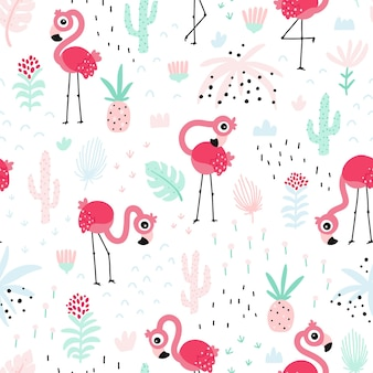 Flamingo seamless pattern summer tropical vector background with cute pink birds in the jungle