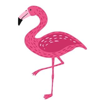고립 된 한쪽 다리에 서있는 플라밍고. 귀여운 새 핑크 색상